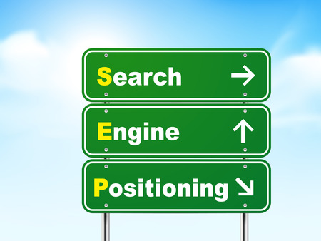positioning: 3d search engine positioning road sign isolated on blue background Illustration