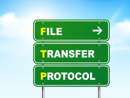 file transfer: 3d file transfer protocol road sign isolated on blue background