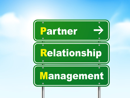 relationship management: 3d road sign with partner relationship management on blue background Illustration