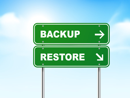 3d road sign with backup and restore isolated on blue background Illustration