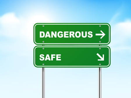 Panneau de signalisation routière 3d avec dangereux et sécuritaire isolé sur fond bleu Vecteurs