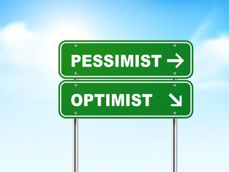 pessimist: 3d road sign with pessimist and optimist isolated on blue background