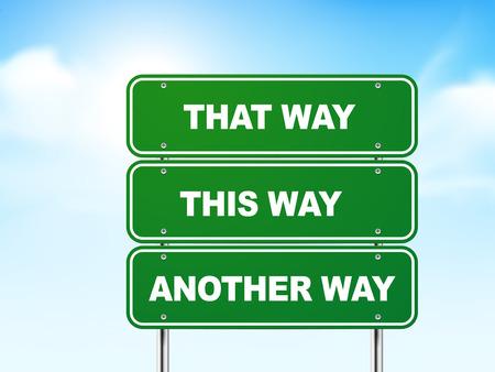 서로 다른 방향으로 3 차원 도로 표지판 파란색 배경에 고립 일러스트