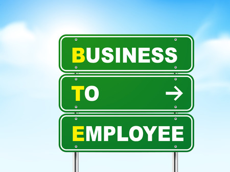 b2e: 3d business to employee road sign isolated on blue background Illustration
