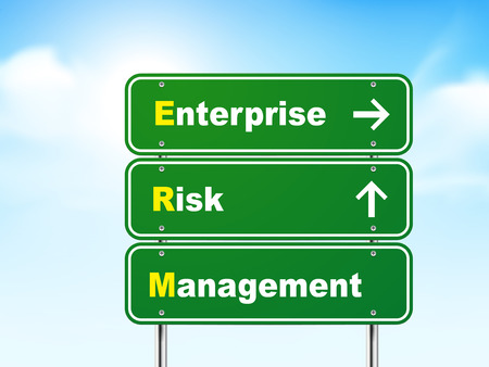 erm: 3d enterprise risk management road sign isolated on blue background