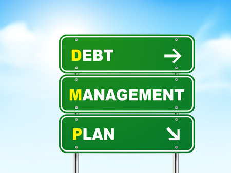 debt management: 3d debt management plan road sign isolated on blue background Illustration