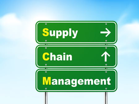 3d supply chain management road sign isolated on blue background Vector