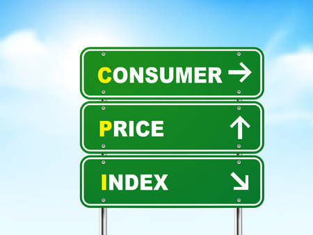 acronym: 3d consumer price index road sign isolated on blue background
