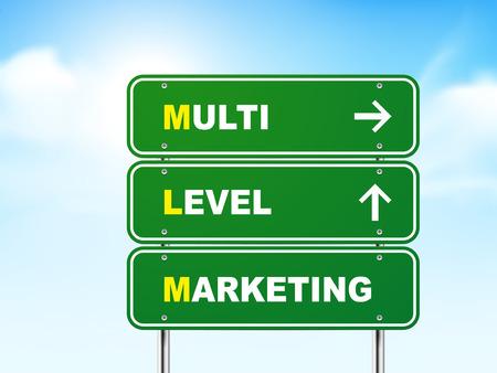 multi level: 3d multi level marketing road sign isolated on blue background Illustration