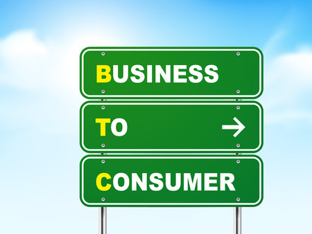 3d business to consumer road sign isolated on blue background Vector