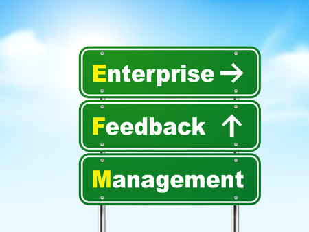 3d enterprise feedback management road sign isolated on blue background Vector