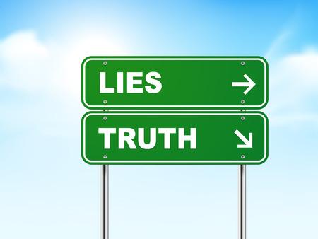 Señal de tráfico 3d con la mentira y la verdad sobre fondo azul