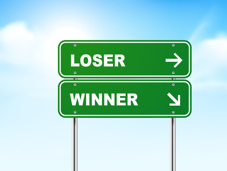 3d road sign with loser and winner isolated on blue background Vector