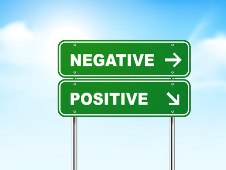 pessimist: 3d road sign with negative and positive isolated on blue background