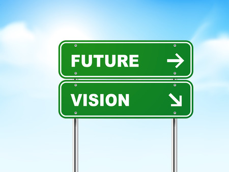 3d road sign with future and vision isolated on blue background Vector