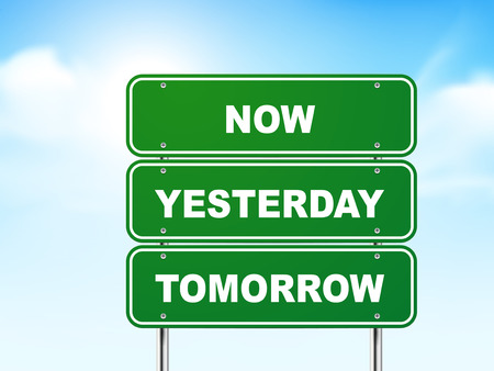 3d road sign with now, yesterday and tomorrow isolated on blue background Vector