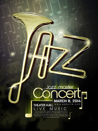 Concert de jazz modèle d'affiche avec des éléments de la trompette et des notes Banque d'images - 30288853