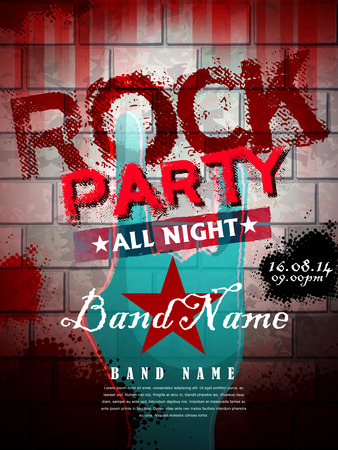rock party all night poster template in red tone Vector