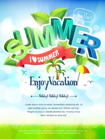 明るい緑と青のトーンで夏のポスターが大好き  イラスト・ベクター素材