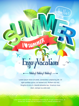 poster template: bright i love summer poster in green and blue tones
