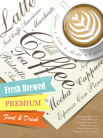 fresh brewed: poster with fresh brewed coffee art on paper template Illustration