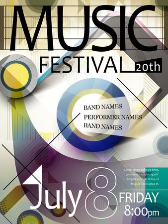 stijlvolle en kleurrijke muziekfestival affichemalplaatje Stock Illustratie