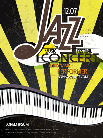jazz club: music festival poster of jazz and piano template