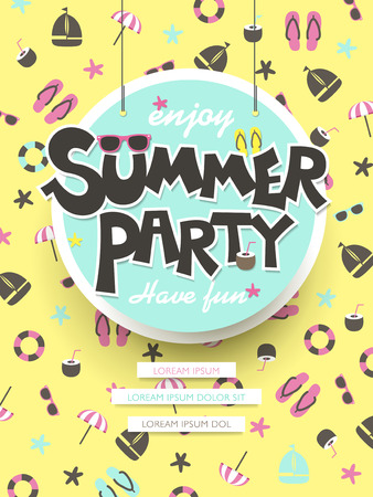 lovely enjoy summer party poster in yellow tone Vector