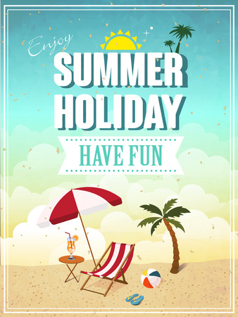 beach ball: lovely summer holiday have fun poster template