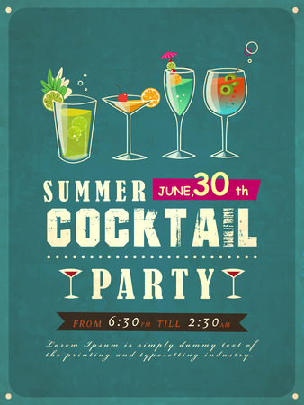 retro-stijl zomer cocktail party poster sjabloon