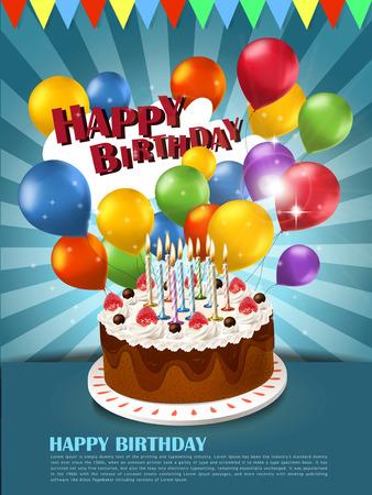 pastel de cumplea�os: colorido feliz plantilla del cartel celebraci�n de cumplea�os con pastel, globos elementos
