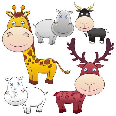 illustrators: five lovely animals set on white background