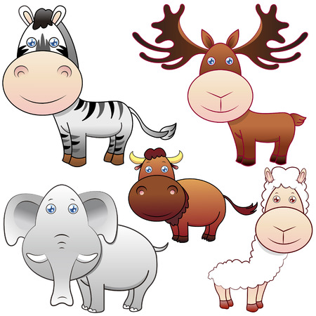 five lovely animals set on white background Vector
