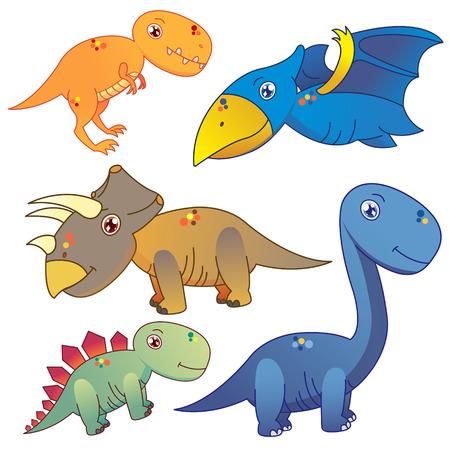stegosaurus: cinco dinosaurios encantadores fijados en el fondo blanco Vectores