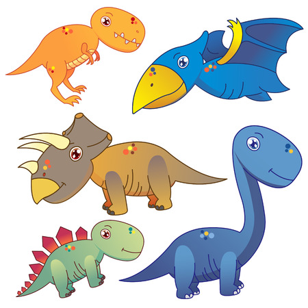 pterodactyl: five lovely dinosaurs set on white background