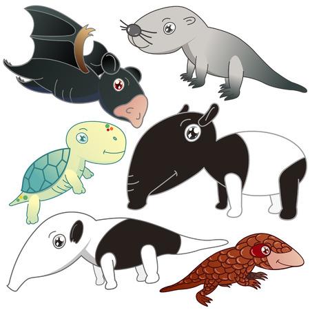 nutria caricatura: seis animales encantadores fijados en el fondo blanco