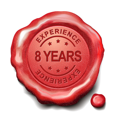eight year old: 8 years experience red wax seal over white background