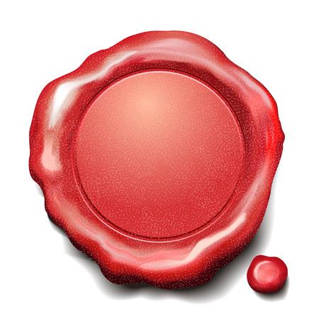 sceau cire rouge: cachet de cire rouge isol� sur fond blanc