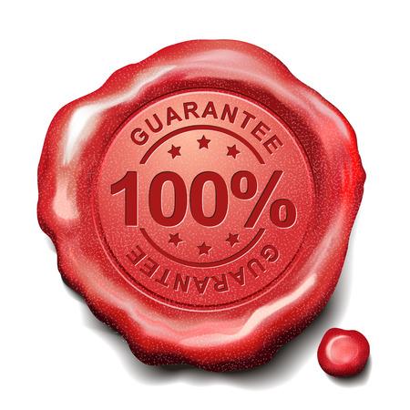 sceau cire rouge: 100 pour cent garantie cachet de cire rouge sur fond blanc Illustration