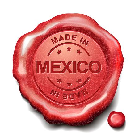 sceau cire rouge: fait en cachet de cire rouge Mexique sur fond blanc Illustration