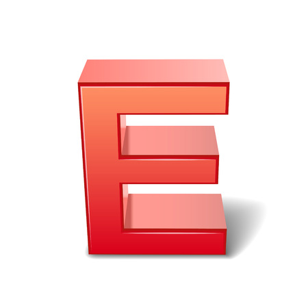 the letter e: 3d red letter E isolated on white background