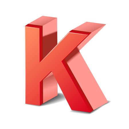 buchstabe k: 3d roten Buchstaben K auf wei�em Hintergrund