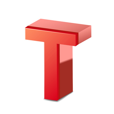 t background: 3d red letter T isolated on white background Illustration