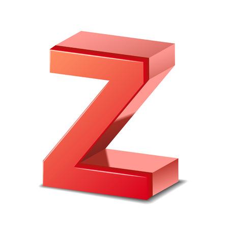 buchstabe z: 3d roten Buchstaben Z isoliert auf wei�em Hintergrund