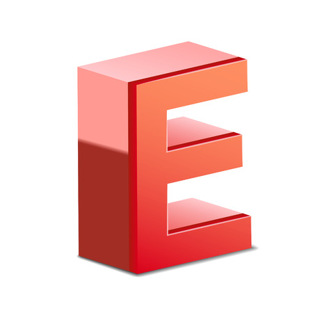 e white: 3d red letter E isolated on white background