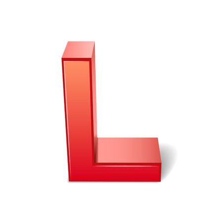 l red: 3d red letter L isolated on white background Illustration