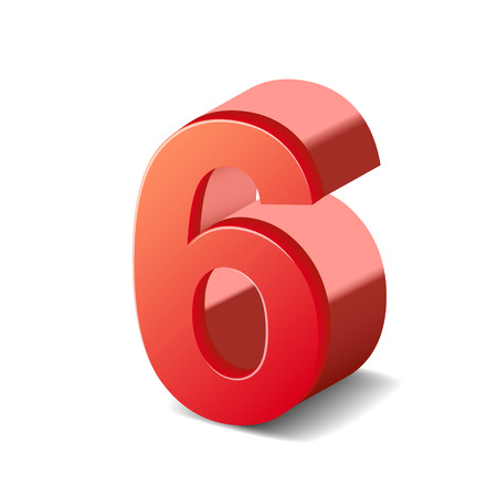 number 6: 3d shiny red number 6 isolated on white background Illustration