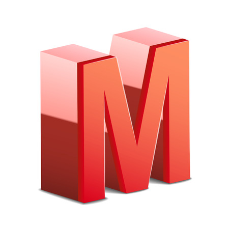 letter m: 3d red letter M isolated on white background Illustration