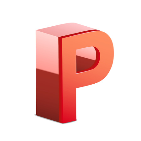 letter p: 3d red letter P isolated on white background