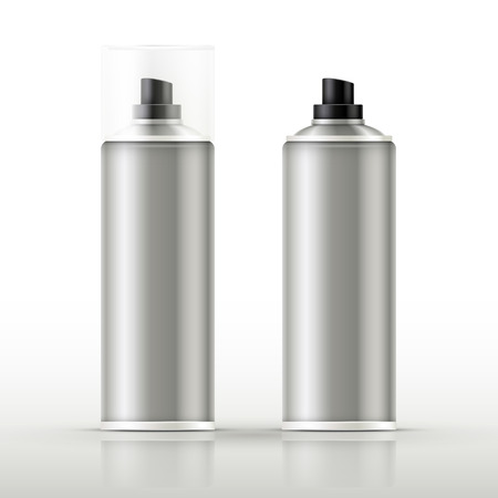 blank aluminum spray cans isolated on gray background Vector